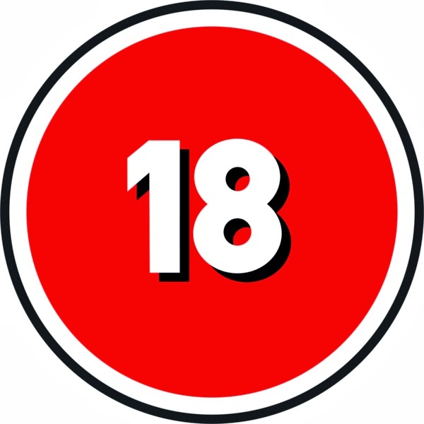 Round red circle with black outline with 18 in white centred