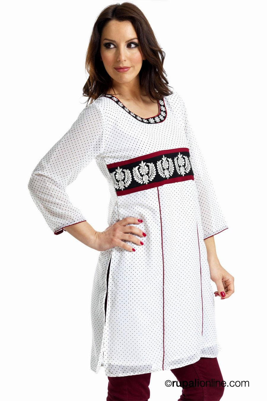 Simple embroidery kurtis vicmora