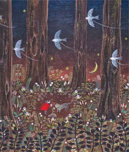 illustration by Saito Tomoko of red riding hood in the woods