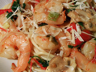 Closeup of Shrimp topped with grated parmesan