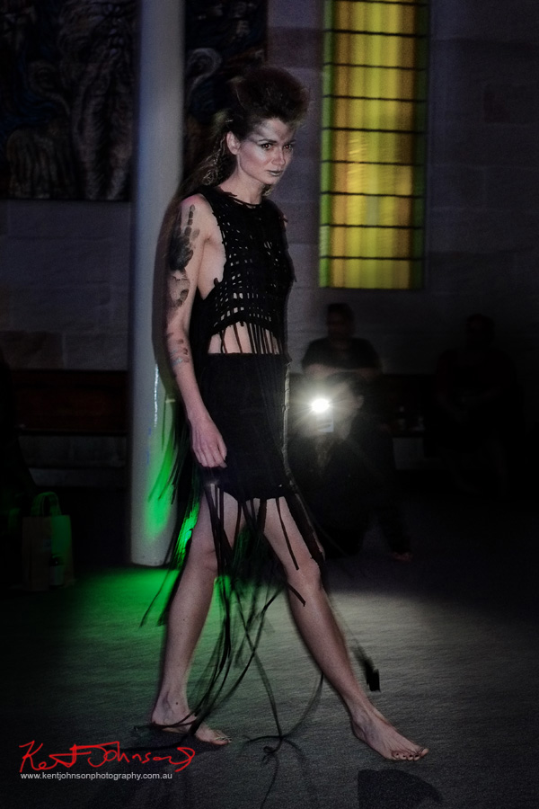 Black weave 'tribal' dress, Raw to Recycled by Dehautt - Photographed by Kent Johnson.