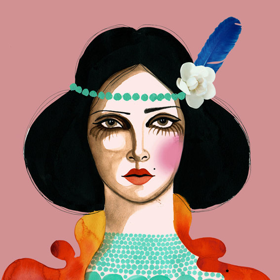 kunst print, Oh Carmen. Farverigt print af en smuk kvinde