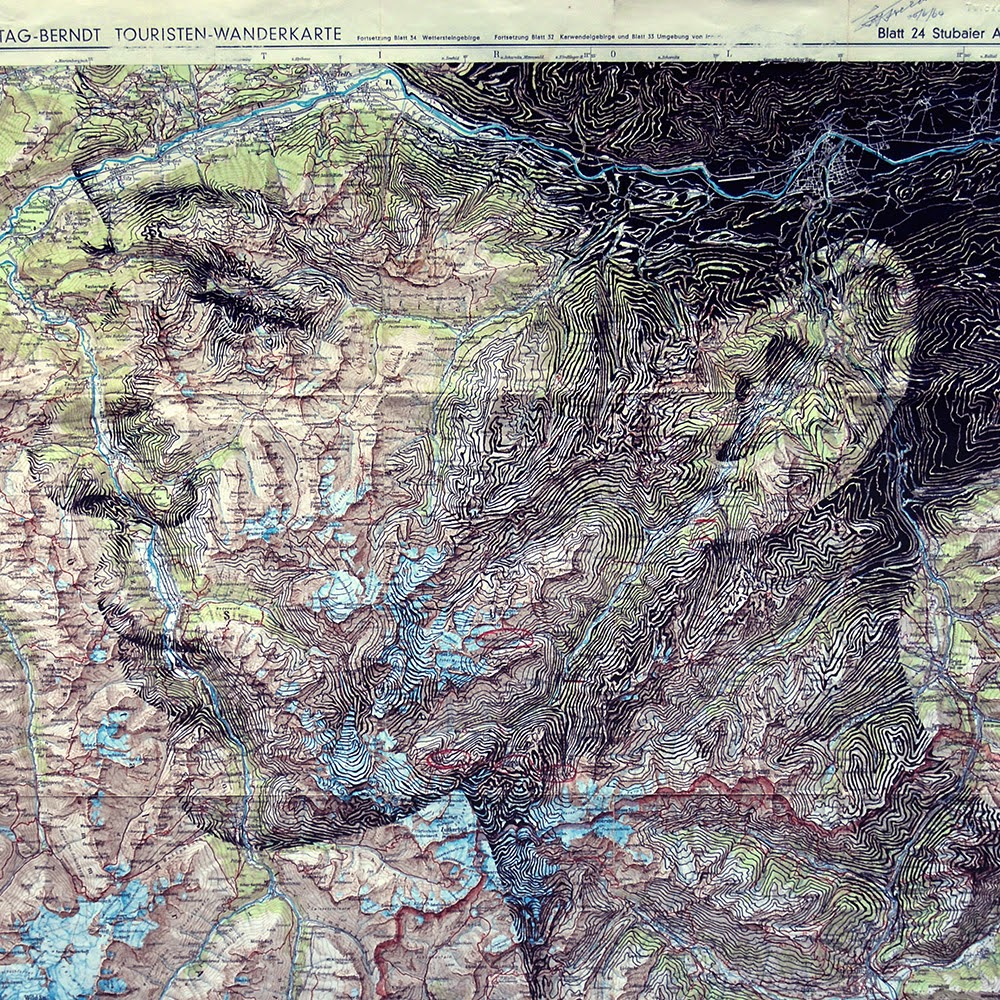 Portraits Art Drawn on Vintage Maps  Seen On www.coolpicturegallery.us