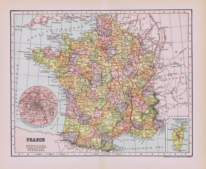 Antique Paris and France Map Printables | Knick of Time