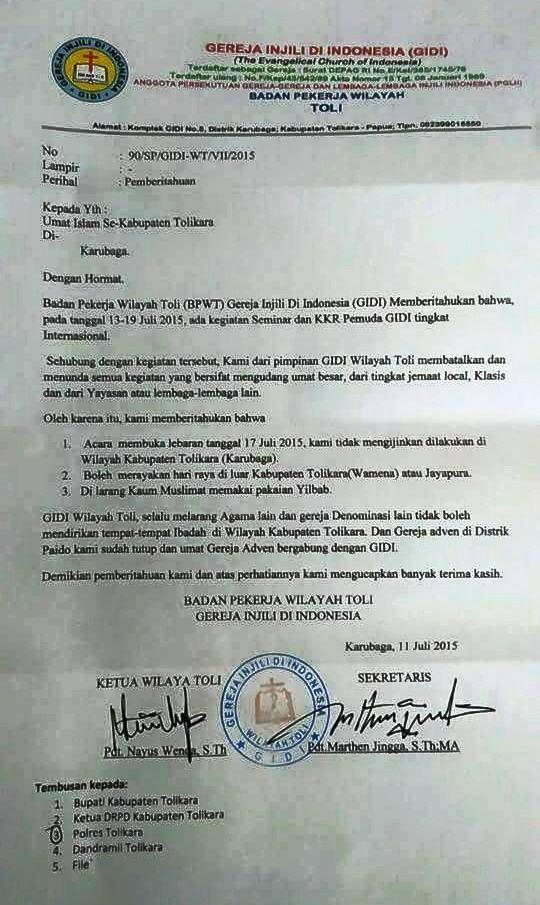 Kasus Tolikara : Pertama Kali Masjid Dibakar Dalam Sejarah Papua
