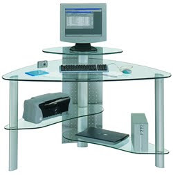 Clear Glass Corner Desk Bristol Executive