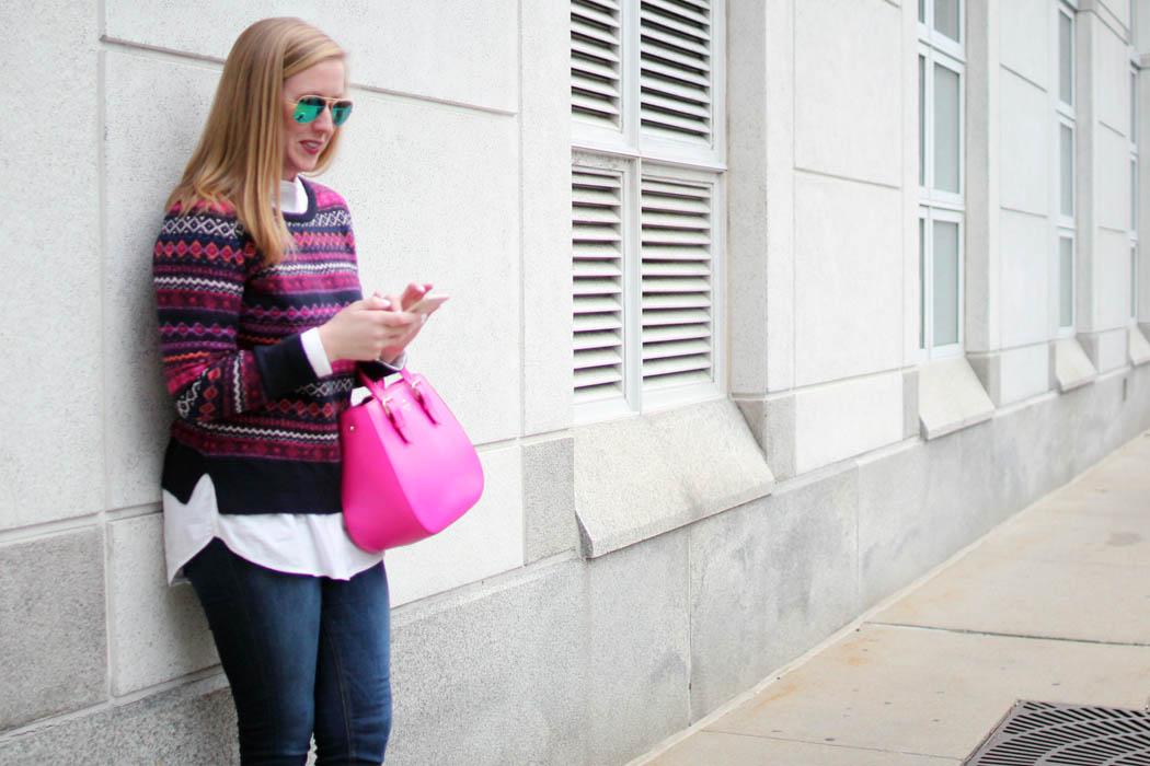 loft fairisle sweater, loft sweater, holiday sweater, loft fair isle sweater, navy and pink fairisle sweater, boston fashion blogger, blogger fairisle sweater, blogger fair isle sweater