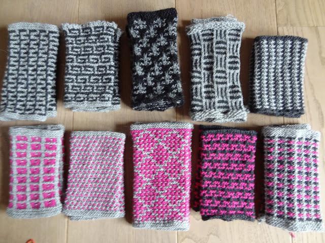Her ses et udsnit af de flotte mønstre. vævestrik strikkes blot med