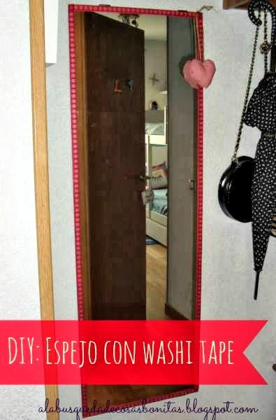Espejo decorado con washi tape