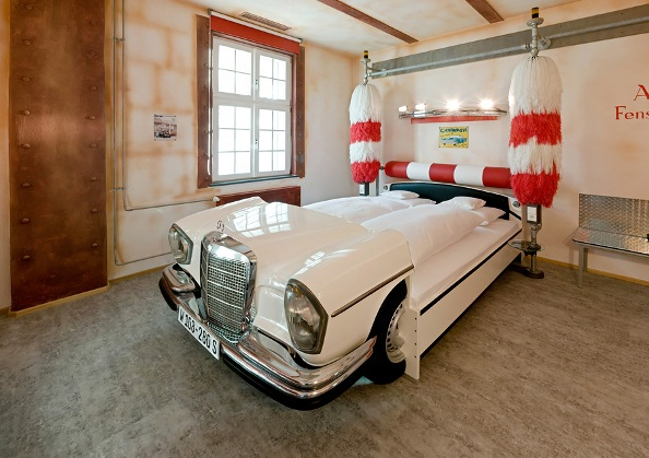 the rooms are designed to represent a gas station car wash drive in and garage all images by frank hoppe - Boys Room Ideas Cars