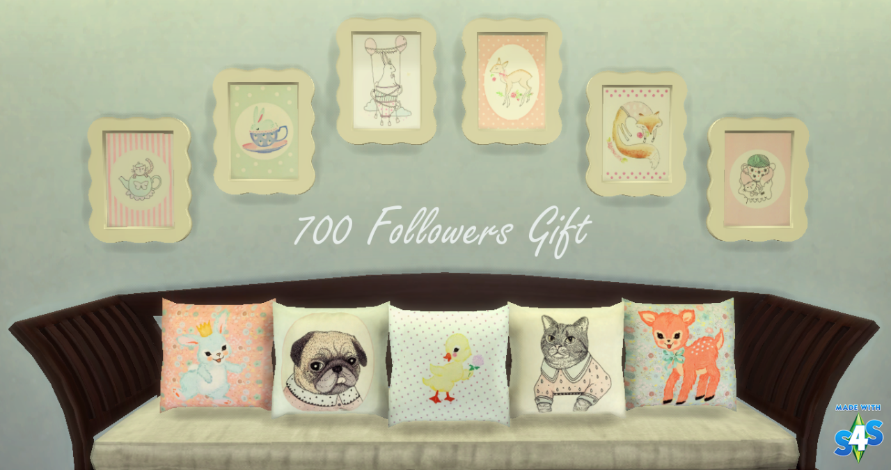 Throw Pillows Sims 4 : My Sims 4 Blog: Animal Scalloped Painting & Animal Throw Pillow by Nooboominicule