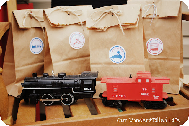 train favors at a transportation tricycle bike bicycle birthday party ideas