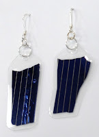 Sterling silver dangle earrings with similar blue photovoltaic cells (solar)
