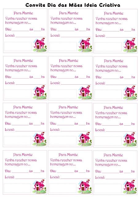 Convite Dia das Mães para Cartão Envelope