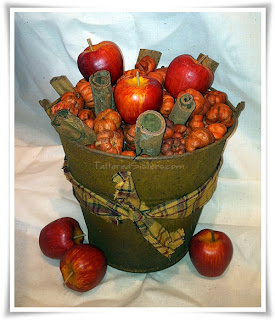 Pumpkin Apple Rusty Tin Bucket Home Decor