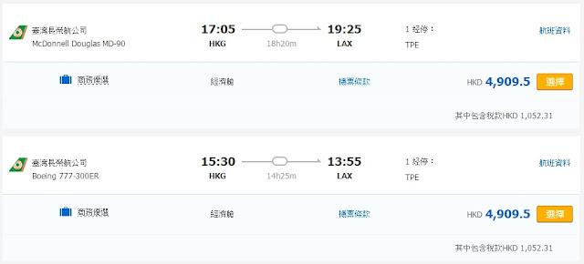 長榮航空香港出發洛杉磯 HK$4,909(連稅)