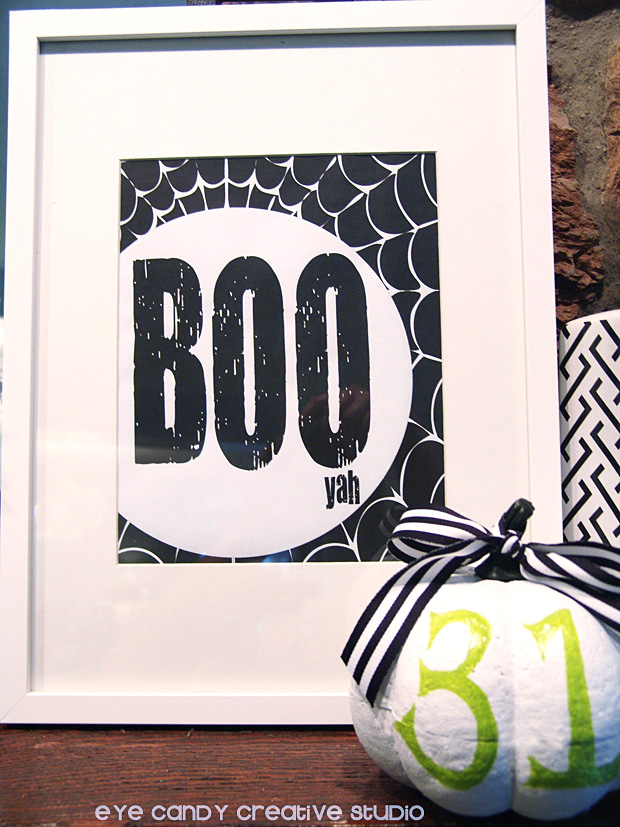 BOO yah art print, free BOO print, 31 pumpkin, halloween decor ideas