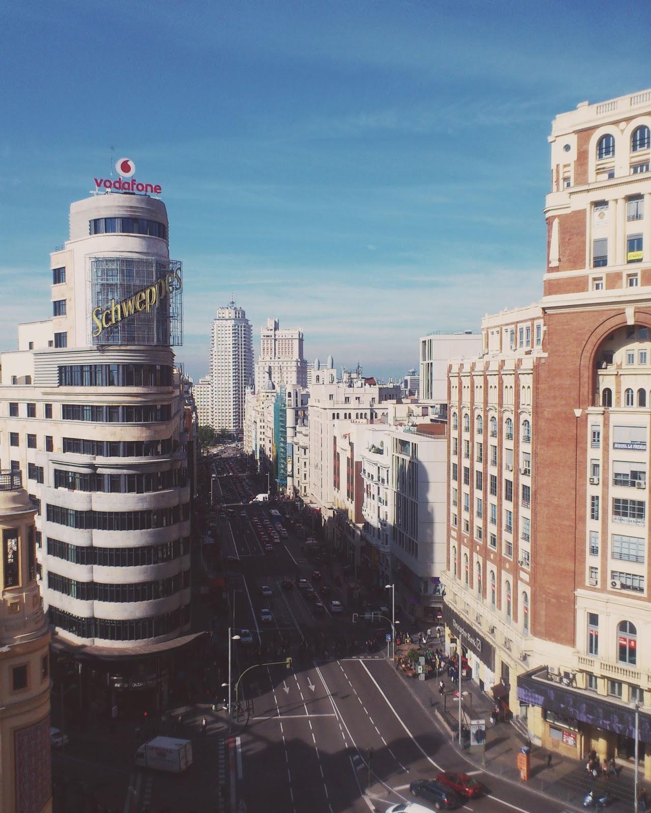 Madrid panorama viewing platform gran via street el corte ingles