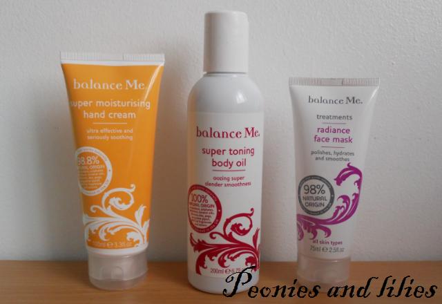 Balance me natural skincare amnesty, Balance me radiance face mask, Balance me super toning body oil, Balance me super moisturising hand cream