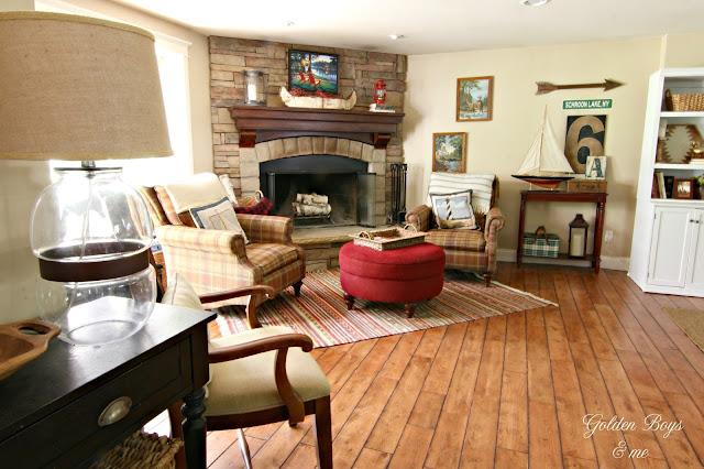 corner stone fireplace in family room-www.goldenboysandme.com