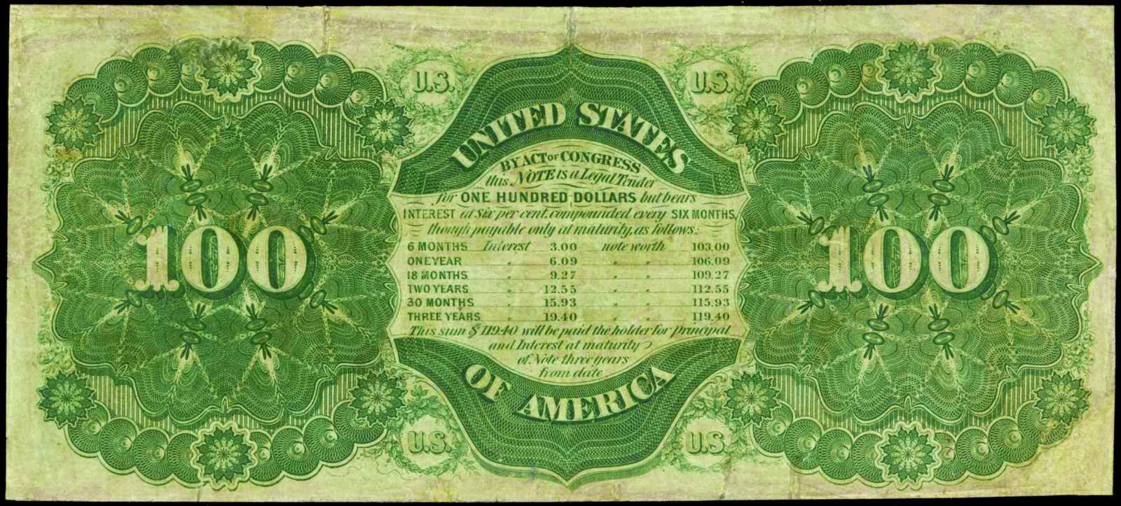 1864 100 Dollar Compound Interest Treasury Note