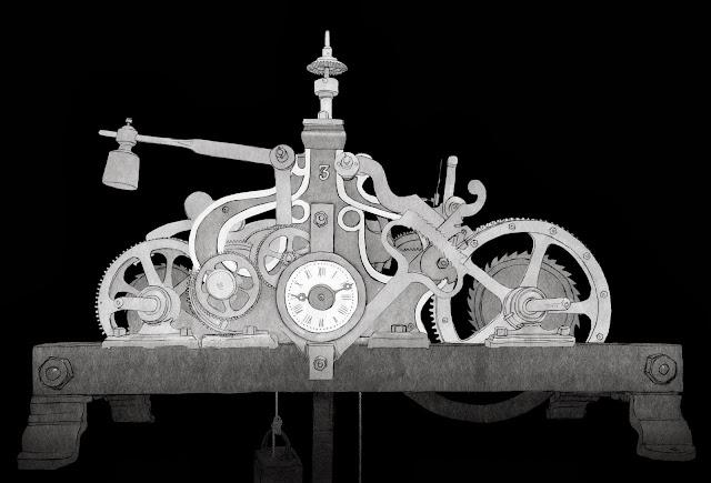 maquinaria reloj, campanario, dibujo