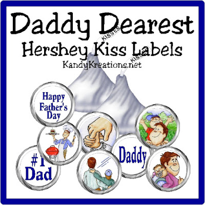 Show dad your love this Fathers Day with a bunch of sweet kisses.  These Hershey Kiss label printables are perfect for adding to a bag of treats and sharing with the man in your life.