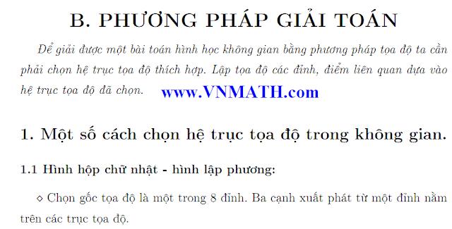 giai toan hinh hoc khong gian bang phuong phap toa do, thi dai hoc