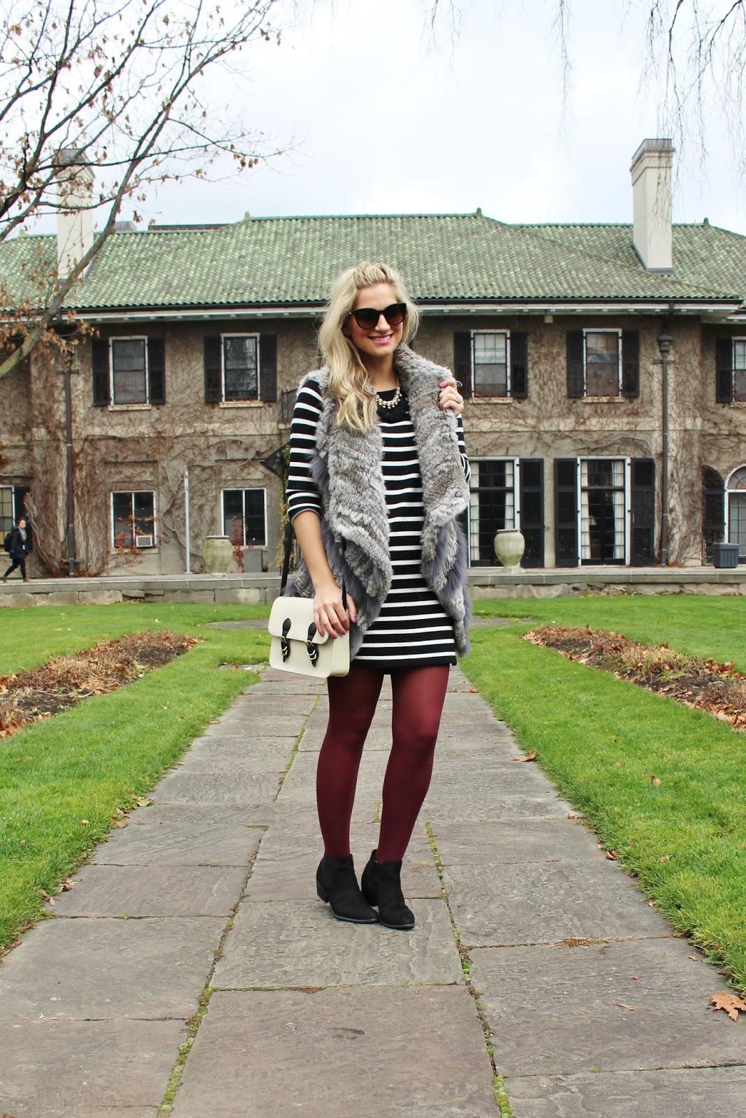 bijuleni- Wilsons Leather rabbit fur vest and striped dress