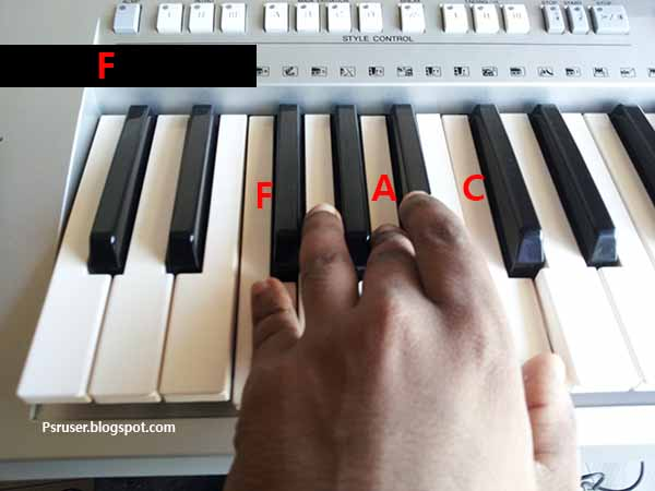 F major chord on keyboard