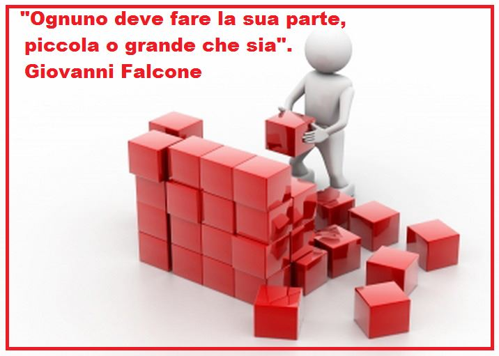"""OGNUNO DEVE FARE LA SUA PARTE, PICCOLA O GRANDE CHE SIA "".( Giovanni Falcone ).."