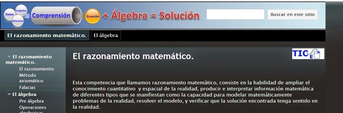 Página web con temas de álgebra