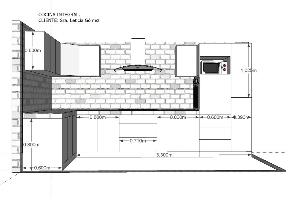 Medidas para muebles de cocina integral for Como instalar una cocina integral pdf