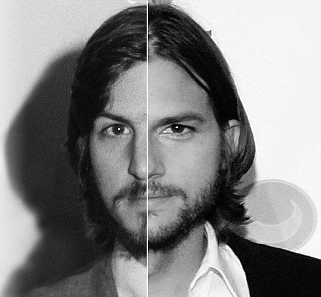 Two Faced: This Composite Image, Released Earlier This Week, Shows Jobsu0027  Face On The Left And Kutcher On The Right  Jobs That Are Left