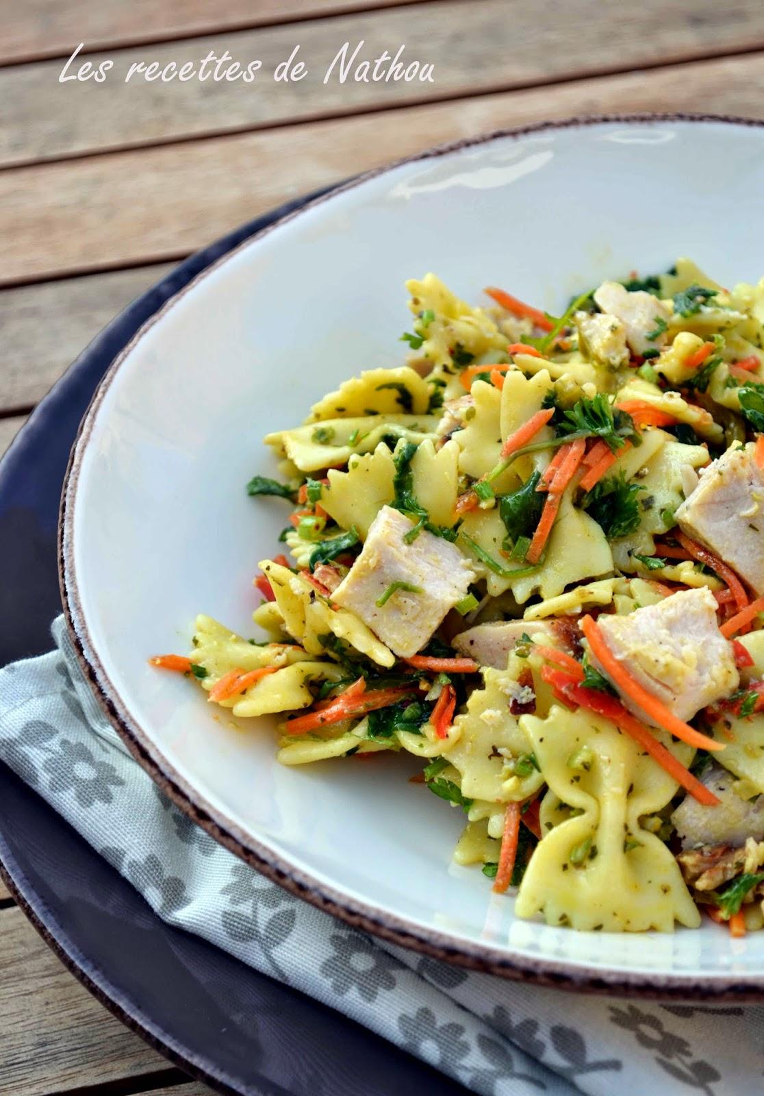 salade de p 226 tes au poulet vinaigrette moutarde et curry soto