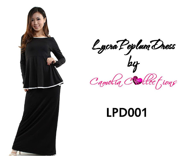 lycra peplum dress black