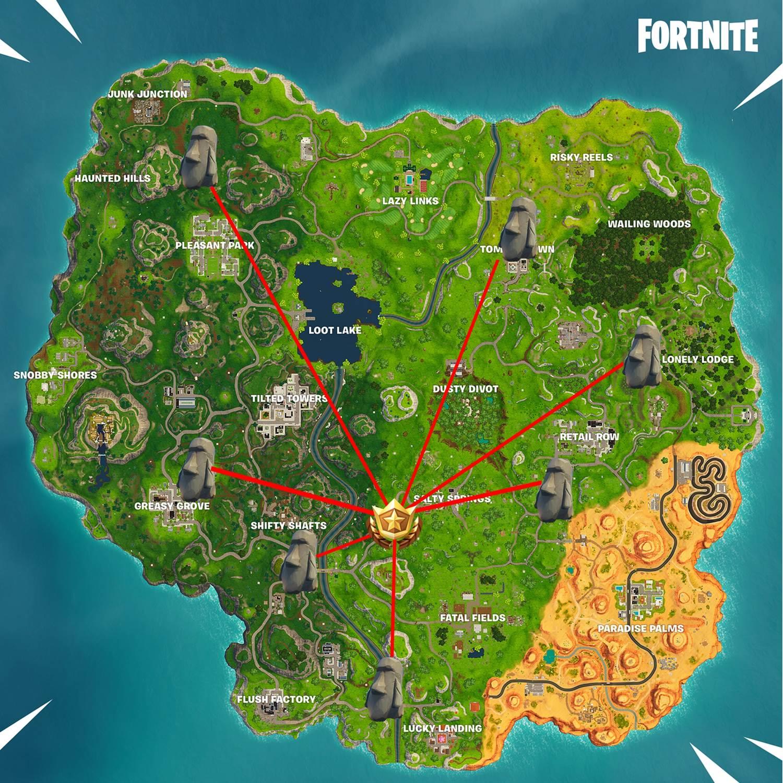 para voce nao ficar na pista fique com o mapa e as localizacoes delas um video para ilustrar ainda melhor - mapa desafios fortnite semana 6