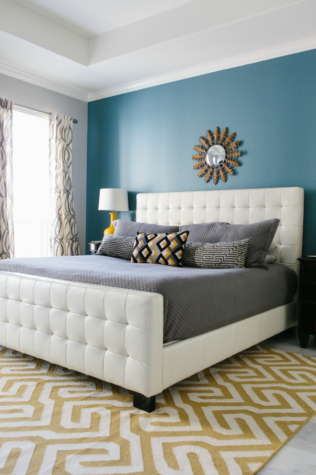 Master bedroom reveal with minted design improvised Master bedroom with yellow walls