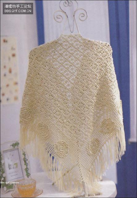 شال كروشية ... مثلث الشكل ألبسيه زي الكوفية في فترة الربيع والخريف  1a