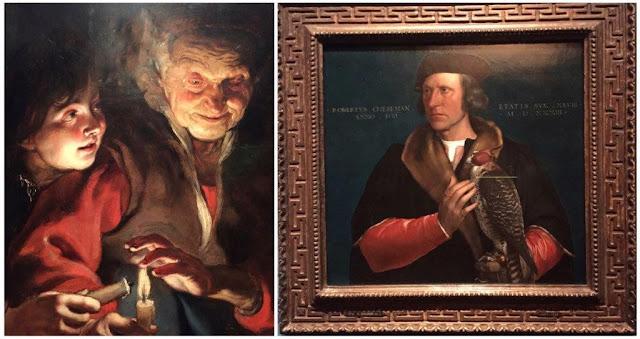 Museo Galería Real de Pinturas Maurithuis en La Haya - Vieja y niño con candelas de Peter Paul Rubens - Retrato de Robert Cheseman con halcón de Hans Holbein II