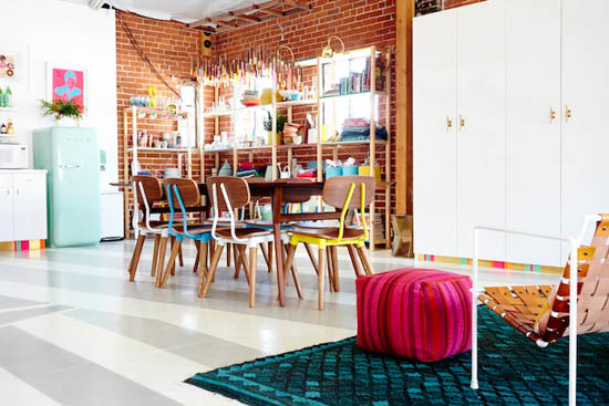 brick walls, happy colors, vibrant space