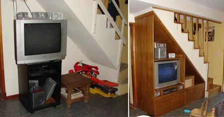 Antes y despues mueble para tv aprovechado el espacio for Decoracion debajo escaleras
