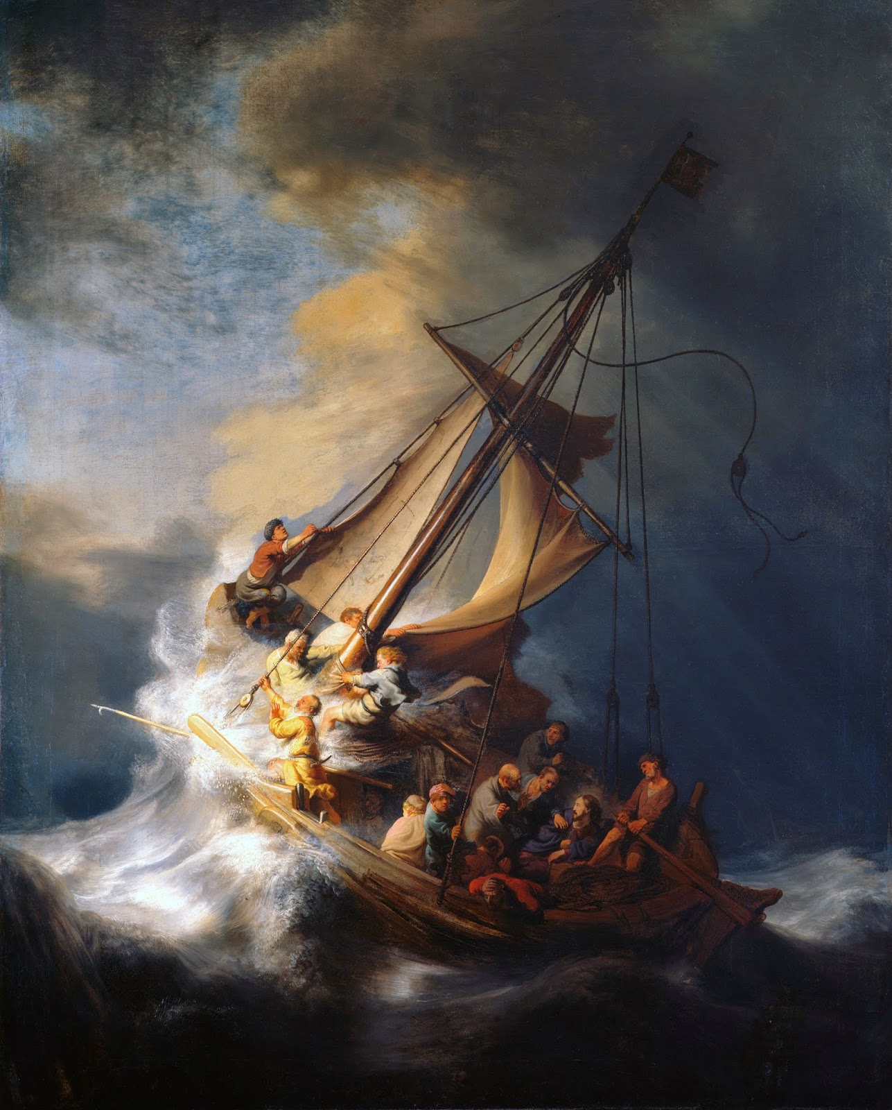 painting of 12 fisherman on a ship on the sea, trying to keep it calm