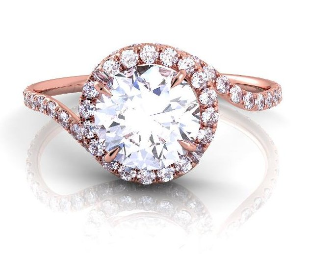 of diamonds throughout the ring and setting Style number AE Rose Gold