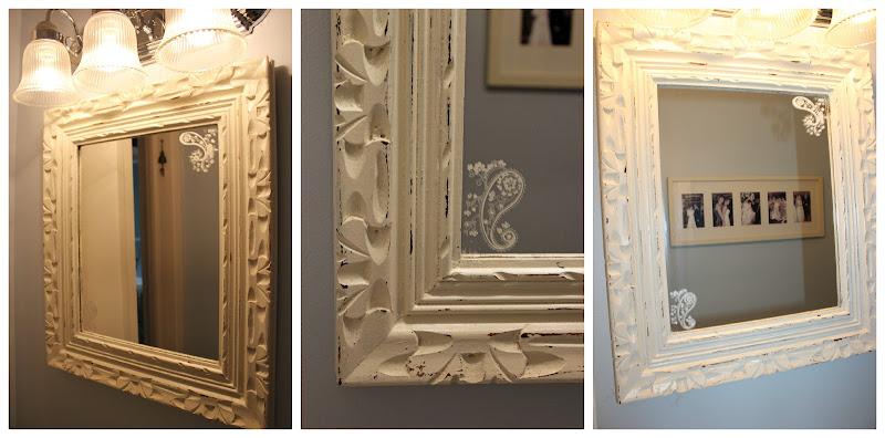 Bathroom mirror makeover using scrapbook rub-ons! title=