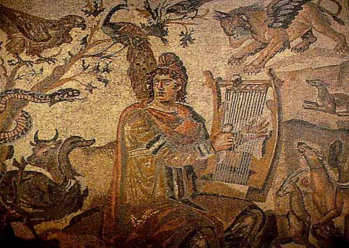 Vi tico de vagamundo orpheus and the animals ancient for Ancient greek mural