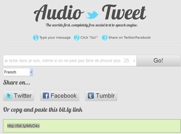 message audio sur twitter