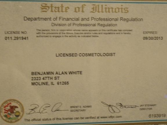 My cosmetology license.