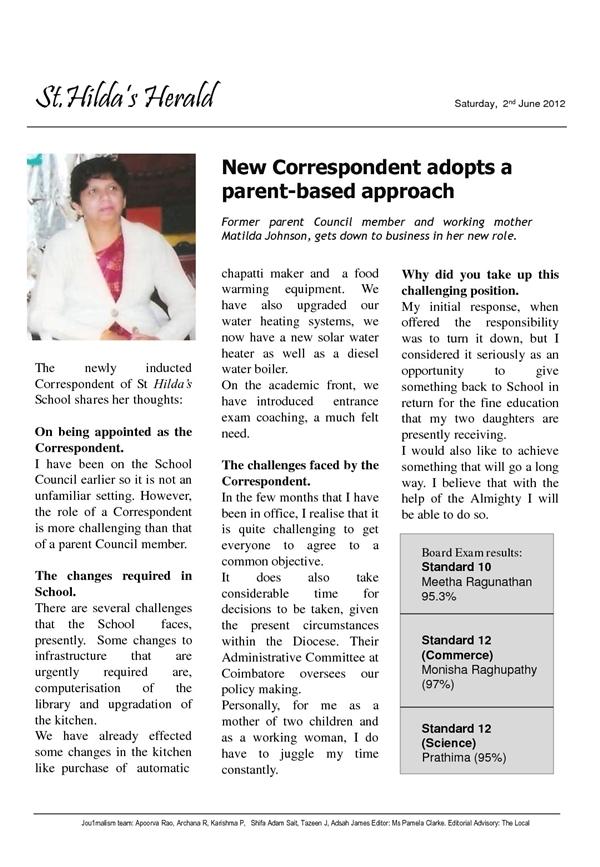 St. Hilda's Herald: Matilda Johnson takes charge