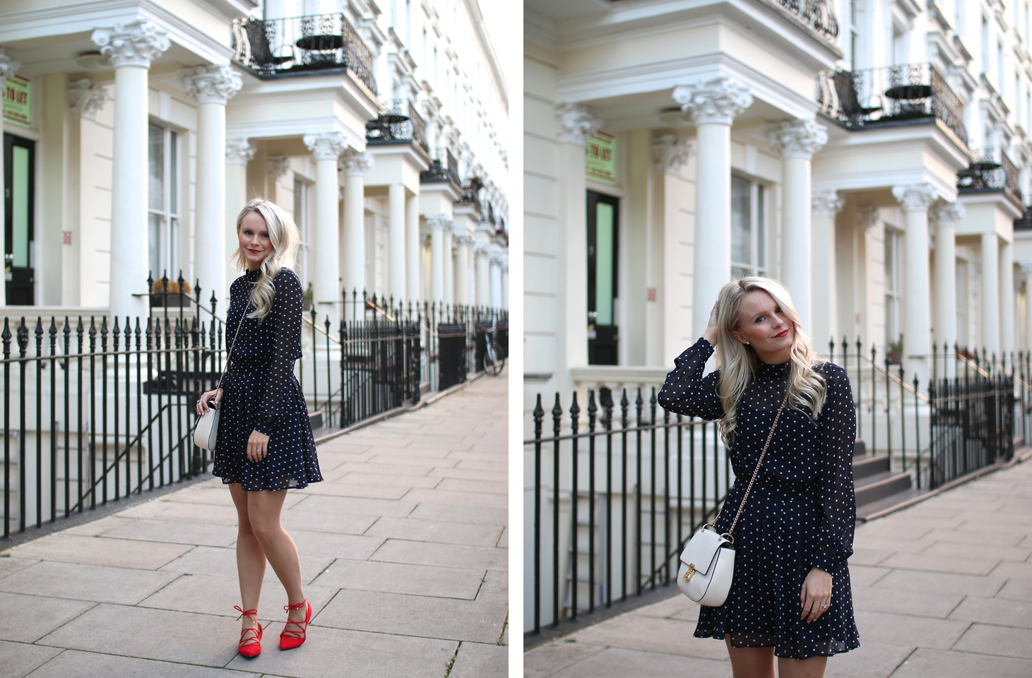 a blonde women wanders notting hill in a cute navy blue dress